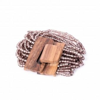 Деревянная пряжка сиреневая крупные бусины - 0
