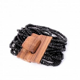Деревянная пряжка черная крупные бусины - 0