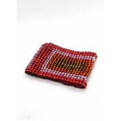 Манжет из крупных бусин квадратный красный микс