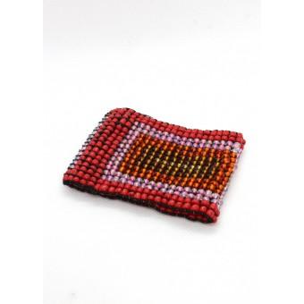 Манжет из крупных бусин квадратный красный микс - 0