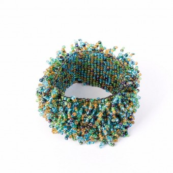 Коралл на резинке зеленый микс - 0