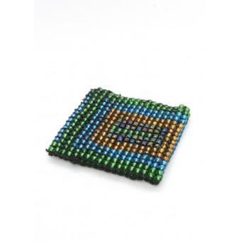 Манжет из крупных бусин квадратный зеленый микс - 0