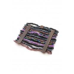 Манжет с деревянными деталями фиолетовый