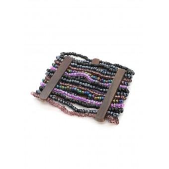 Манжет с деревянными деталями фиолетовый - 0