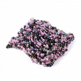 Манжет с камушками фиолетовый mix - 0