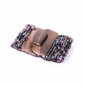 Деревянная пряжка фиолетовый mix плетёный - 0
