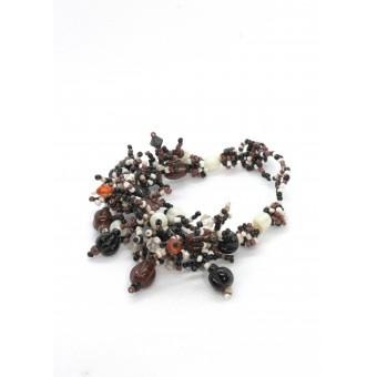 Пушистый коралл с бусинами коричневый mix - 0
