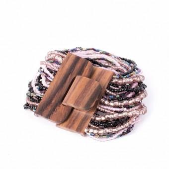 Деревянная пряжка фиолетовый mix - 0