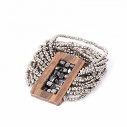 Камушки гематита в деревянной рамке металлик