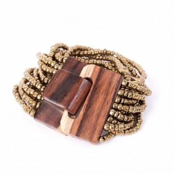 Деревянная пряжка бронзовая крупные бусины - 0