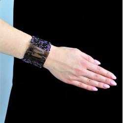 Деревянная пряжка фиолетовый mix плетёный