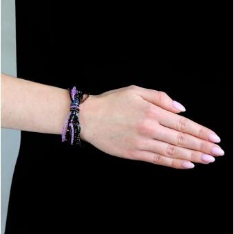 Маленький узелок со стеклярусом черно-фиолетовый - 0