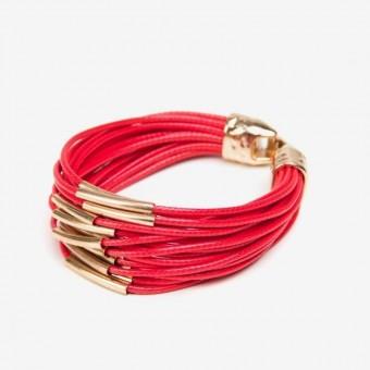Металлические золотые трубочки на красной основе - 0
