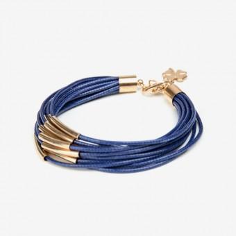 Металлические золотые трубочки на синей основе - 0