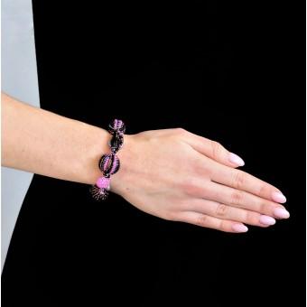 Шарики со стеклянными вставками черно-фиолетовые - 0