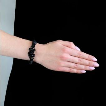 Текстиль с бусинками и камнями черный - 0