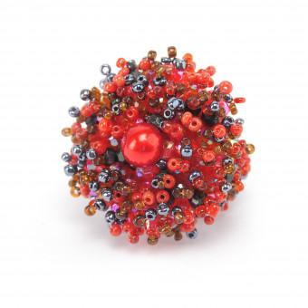 Коралл с бусинкой красный микс - 0