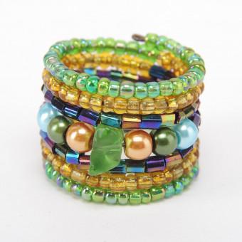 Спираль с камнем зеленый mix - 0