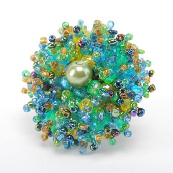 Коралл с бусинкой зеленый микс - 0
