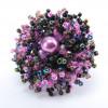 Кольца Коралл с бусинкой фиолетовый микс perline.ua