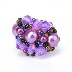 Пуговка с бусинками фиолетовый микс
