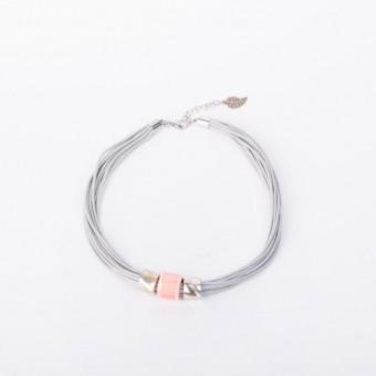 Керамика на серой вощеной нити с розовой бусиной - 0