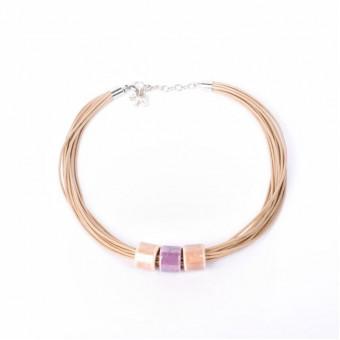 Керамика на вощеной нити с фиолетовой бусиной - 0