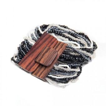 Деревянная пряжка черно-белый mix - 0