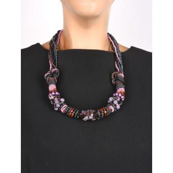 Тугой черно-фиолетовый жгут с камнями - 0