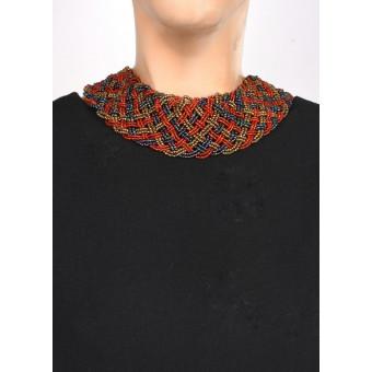 Воротник широкое плетение бронзовый mix - 0