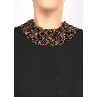 Воротник широкое плетение черный mix - 0