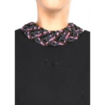 Воротник широкое плетение черно-фиолетовый mix  - 0