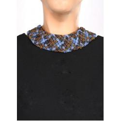 Воротник широкое плетение голубой mix