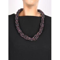 Жгут черно-фиолетовый с деревянной застежкой крючком
