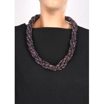 Жгут черно-фиолетовый с деревянной застежкой крючком - 0