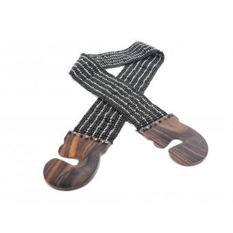 Пояс с деревянной застежкой металлик микс - 0