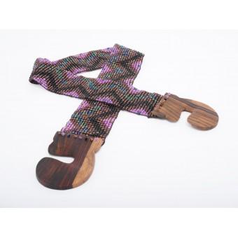 Пояс с деревянной застежкой фиолетовый микс зигзаг  - 0