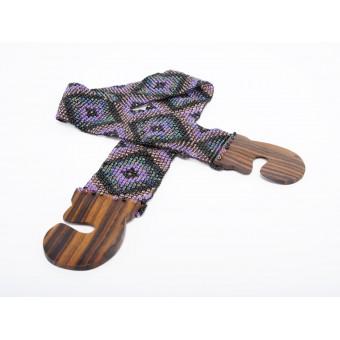 Пояс с деревянной застежкой фиолетовый микс ромбы - 0