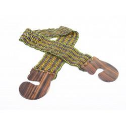 Пояс с деревянной застежкой зеленый микс