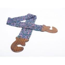 Пояс с деревянной застежкой голубо-розовый микс меланж