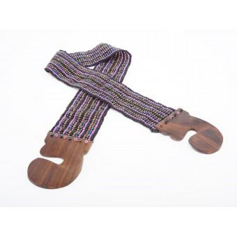Пояс с деревянной застежкой фиолетовый микс  - 0