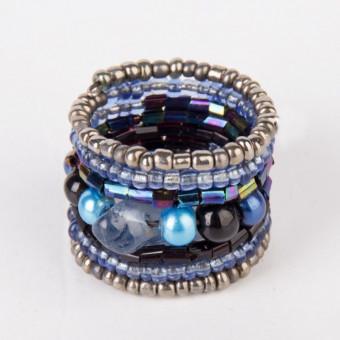 Спираль с камнем синий mix - 0