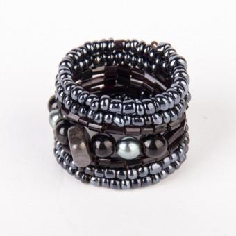 Спираль с камнем гематитовый mix - 0