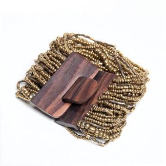Деревянная пряжка бронзовая - 0