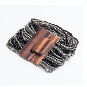 Деревянная пряжка металлик mix - 0