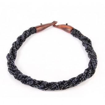 Жгут черно-гематитовый с деревянной застежкой крючком - 0